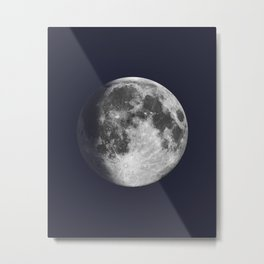 Waxing Gibbous Moon on Navy Metal Print