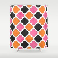 clover Shower Curtains featuring party clover by her art