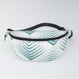 Art-deco Turquoise & White Geometric Patern Fanny Pack