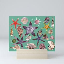 SEASHELLS & STARFISH (TURQUOISE) Mini Art Print