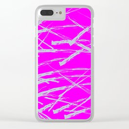Neon Magenta background with Rough Blue Grey Paint Strokes, Teenage Girl Bedding Clear iPhone Case