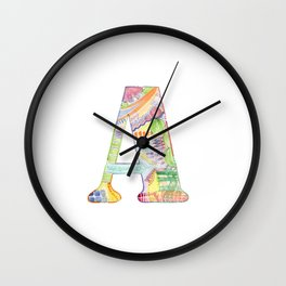 Letter A - Watercolor Monogram - Colorful Lettering - Watercolor Letter Print - Watercolor Initial Wall Clock