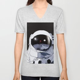 Astronaut Golf Course on the Moon Unisex V-Neck