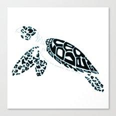 Calligram Sea Turtle Canvas Print