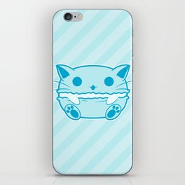 Blue Kawaii Cat Macaroon iPhone Skin
