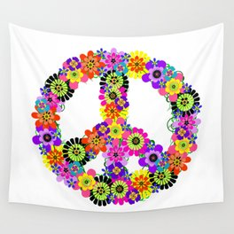 Peace Sign of Flowers Wall Tapestry