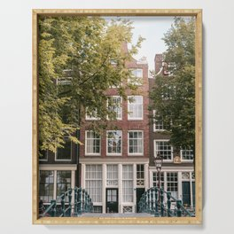 Canal houses in the City Centre of Amsterdam, the Netherlands || Colourful travel photography wall art Cityscape Buildings Architecture Serving Tray