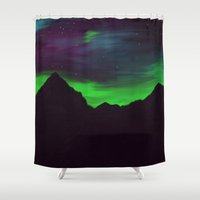 northern lights Shower Curtains featuring Northern Lights by 💐JadeRose