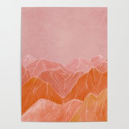 Lines in the mountains - pink II Poster
