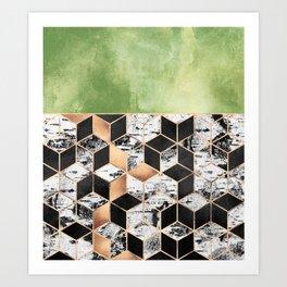 Birch Tree Cubes Art Print