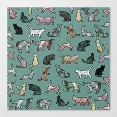 Cats shaped Marble - Green Canvas Print