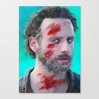 rick grimes Canvas Prints featuring -Rick Grimes- by JEUDI