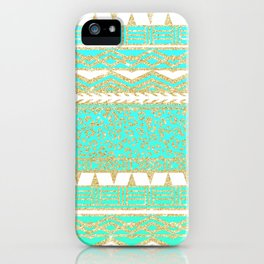 Modern gold turquoise teal ombre aztec pattern iPhone Case