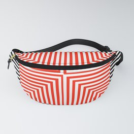 Optical illusion with red and black stripes Fanny Pack