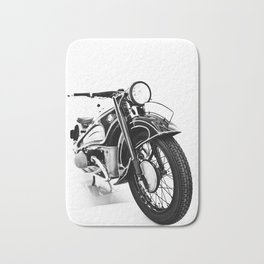 Vintage classic bike, motorcycle art, white background Bath Mat