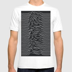 Unknown Radio Waves - Unknown Pleasures White Mens Fitted Tee SMALL
