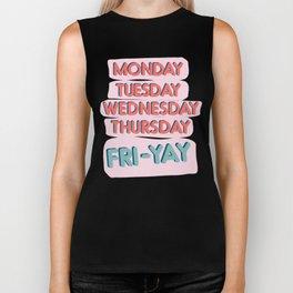 Fri-Yay Friday Vibes - Days of the Week Design Biker Tank