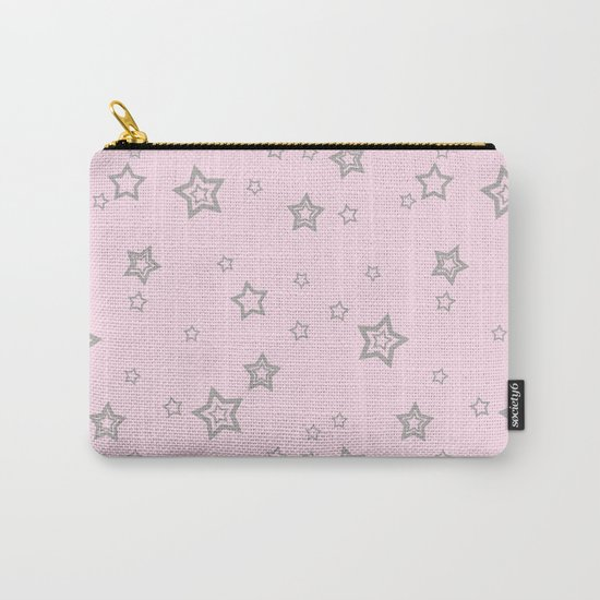 Grey little stars on pink background Carry-All Pouch