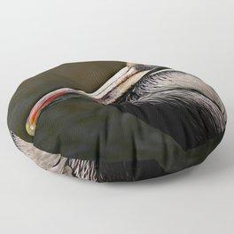 Brown Pelican Portrait Floor Pillow