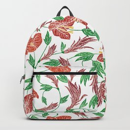 Rust red tropical flowers pattern Backpack
