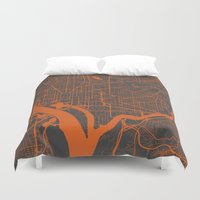washington Duvet Covers featuring Washington Map by Map Map Maps
