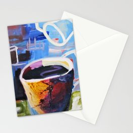 Coffee Geek Cup Blue Green White Yellow Contemporay Art Stationery Cards