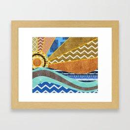 Sunset and Waves 2 Framed Art Print
