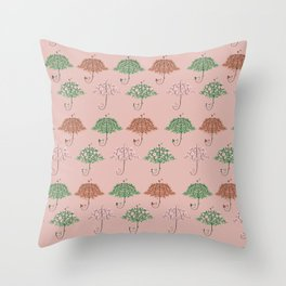 Blooming Umbrella Shape Tree Throw Pillow