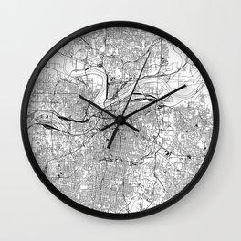 Kansas City White Map Wall Clock