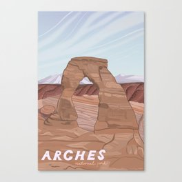 Arches National Park, National Parks Poster, Illustrated Arches, Utah, Capitol Reef, Zion Canvas Print
