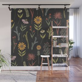 flat lay floral pattern on a dark background Wall Mural