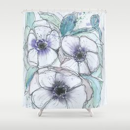 Anemone bouquet illustration watercolor and black ink painting Shower Curtain