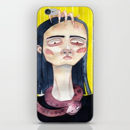 Vlogger girl with a snake iPhone Skin