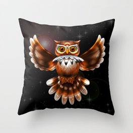 Surreal Owl Metallic Flying on the Night 3d Throw Pillow