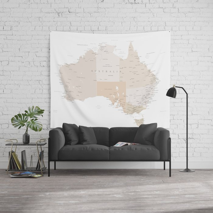 Map of Australia with cities in beige and light brown Wall Tapestry