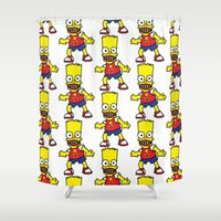 simpson Shower Curtains featuring Bart Simpson by GOONS