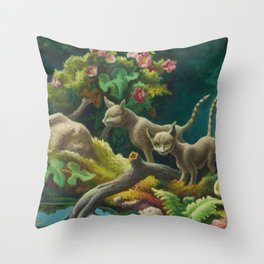 Classical Masterpiece 'Cats - The Brothers' by Thomas Hart Benton Throw Pillow