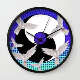 AQUA-LILAC FLYING DOVES Taoism/Daoism ART Wall Clock