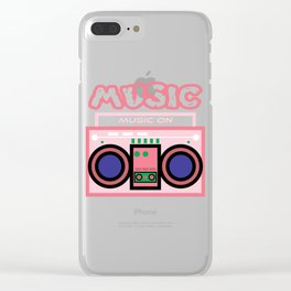 "Cute and  pink ""Radio Music"" tee design. Makes a nice gift to your friends and family this holiday!  Clear iPhone Case"