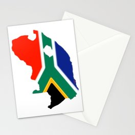 South Africa Map with South African Flag Stationery Cards