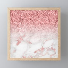 Rose-gold faux glitter and marble ombre Framed Mini Art Print