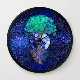 Tree of Life Yin Yang Earth Space Wall Clock