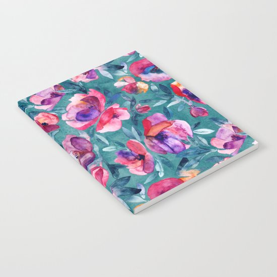 Flourish - a watercolor floral in pink and teal Notebook