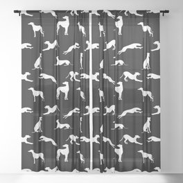 Greyhound Silhouettes White on Black Sheer Curtain