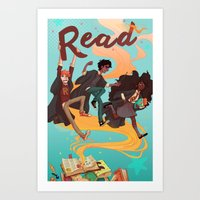 read Art Prints featuring Read! by Loquacious Literature