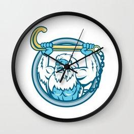 Yeti Lifting J Hook Circle Retro Wall Clock