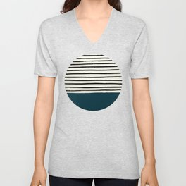 Dark Teal x Stripes Unisex V-Neck
