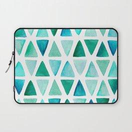Watercolor Turquoise, Green, Blue Geometric Pattern Laptop Sleeve