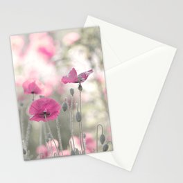 Natural wonder pink poppy flowers in midsummer Stationery Cards
