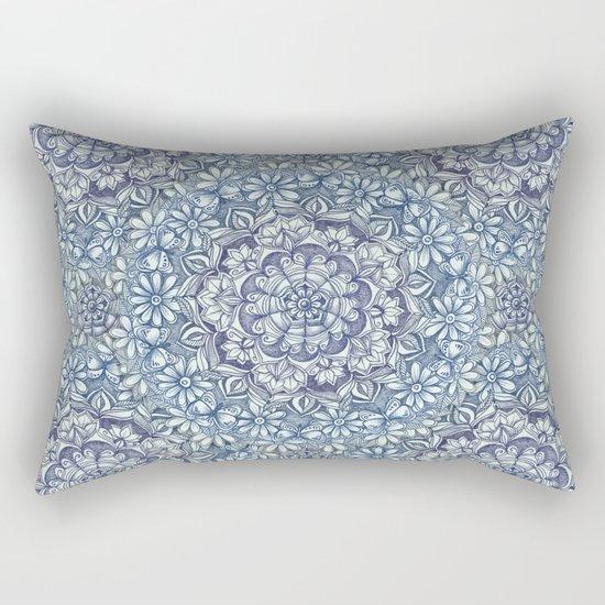 Indigo Medallion with Butterflies & Daisy Chains Rectangular Pillow